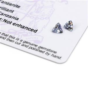 0.7cts Bi Colour Tanzanite Triangle Brilliant 5x5mm