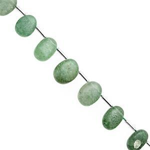 65cts Green Aventurine Quartz Graduated Smooth Oval Approx 9x7 to 15x11mm, 18cm Strand with spacers