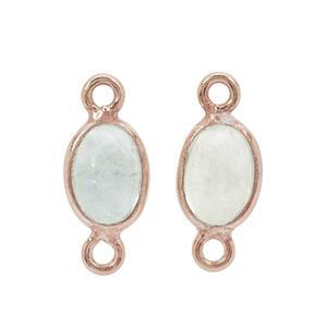 Rose Gold Plated 925 Sterling Silver Oval Aquamarine Connector Approx 6x4mm (Pack of 2)