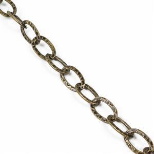 1m Antique Bronze Plated Iron Hammer Style Oval Link Chain - 21x13mm