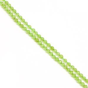 20cts Peridot Faceted Rounds Approx 3mm, 38cm strand