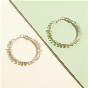 10 Pairs Silver Plated Gemstone Hoop Earrings