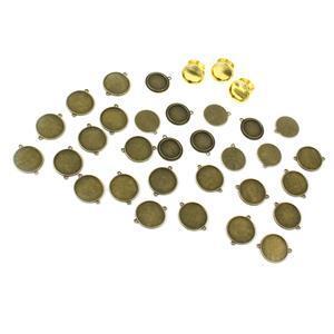 Bezelling A-Round Bezel kit - Round rings (3 pcs); Pendants (10 pcs) & Connectors (20 pcs)