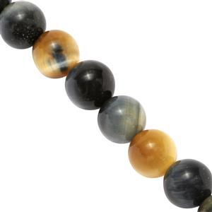 240cts Natural Pewter Tigers Eye Plain Round Approx 9 to 10mm, 37cm Strand