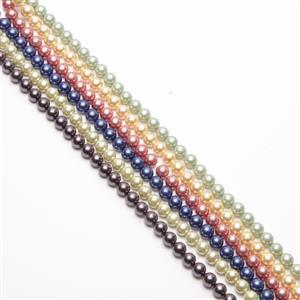 Colours Of The Rainbow Shell Pearl Rounds Approx 8mm, 6x38cm