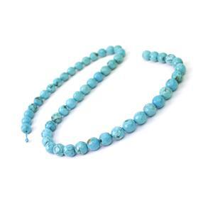 140cts Dyed Blue Magnesite Faceted Rounds Approx 7.5mm, 38cm Strand
