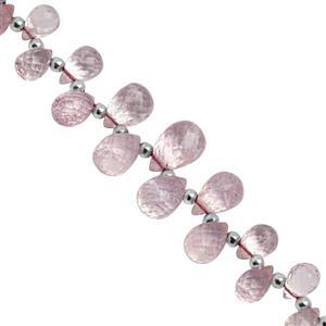 30cts Morganite Top Side Drill Graduated Faceted Drops Approx 5x4 to 10x6.5mm, 11cm Strand with Spacers