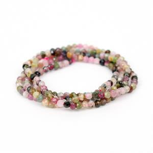 8cts Multi-Colour Tourmaline Faceted Beads Approx 2mm, 38cm strand