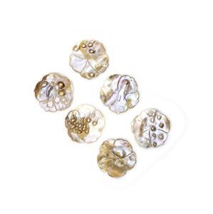 Flower Shaped Shell Pearl Pendants Approx 47mm (6pcs)