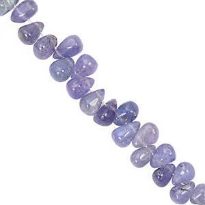 27cts Tanzanite Smooth Drops Approx 4x2.3mm 8.3x4.9mm 10cm Strand