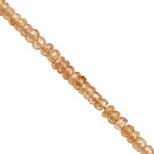 55cts Champagne Zircon Faceted Rondelles Approx 3x2 to 4x2.5mm, 24cm Strand