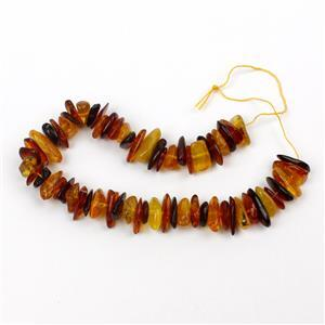 Baltic Multi Colour Amber Centre Drilled Chips Inc. Cognac, Cherry, Lemon, 20cm strand