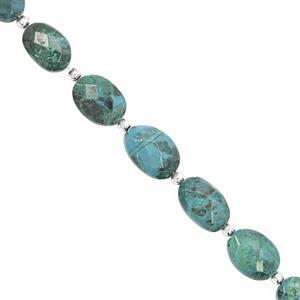 65cts Chrysocolla Straight Drill Faceted Oval Approx 9x7 to 14x10mm, 18cm Strand with Spacers