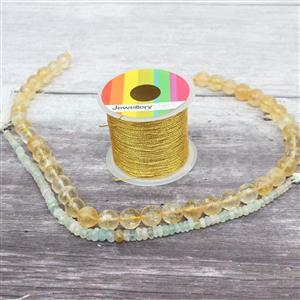 Sunny Days INC Citrine Faceted Rounds 10mm, Multi Colour Beryl Faceted Rondelles & Thread