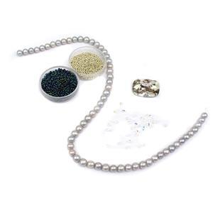 Silver Shimmer; Silver Colour Cultured Pearl Near Rounds, Miyuki Seed Beads & Swarovski