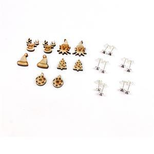 Mini Wooden Christmas Earring Collection 1: Wooden Shapes Shapes & Glue on Earring Posts