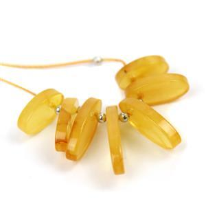 Baltic Butterscotch Amber Graduated Slices with Sterling Silver Spacers, Approx. 12-18mm (7pcs)