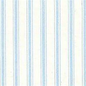 Blue Stripes on White Cotton Poplin Fabric 0.5m