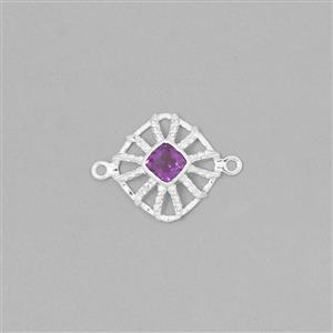 925 Sterling Silver Gemset Connector Approx 22x16mm Inc. 0.50cts Amethyst Cushion Approx 5mm and 0.07cts White Topaz Round Approx 1mm