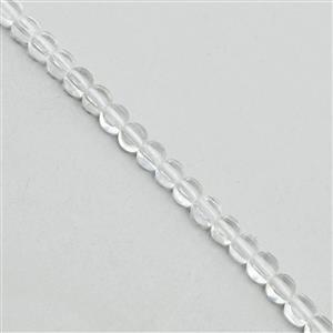 25cts Clear Quartz Faceted Puffy Coins Approx 4mm, 30cm Strand