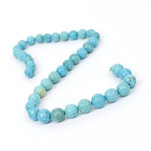 230cts Dyed Blue Magnesite Faceted Rounds Approx 10mm, 38cm Strand