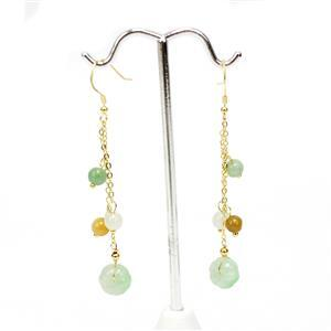 14ct Multi-Colour Type A Jadeite Gold Tone Sterling Silver Earrings