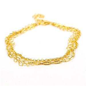 Gold Plated 925 Sterling Silver Triple Chain Bracelet Approx 18cm + 3cm Extender Chain (Rolo, Cable & Long Square Cable)