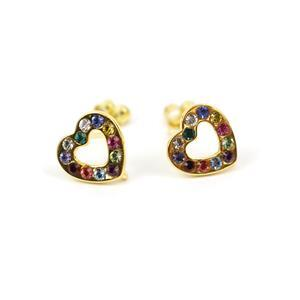 Gold Plated 925 Sterling Silver Heart With Swarovski Crystals Approx 9.5mm Earrings With Loop (1 Pair)