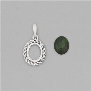 925 Sterling Silver Pendant Mount Fits 10x8mm Oval Inc. 2.85cts Chrome Diopside 10x8mm Oval Cabochon