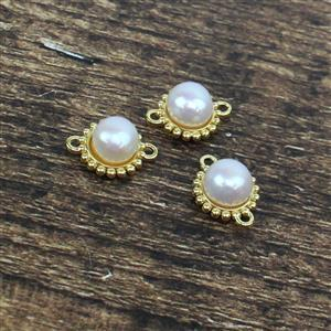 Gold Plated 925 Sterling Silver Freshwater Cultured Pearl Connectors with Beading Detail Approx 10mm, 3pcs