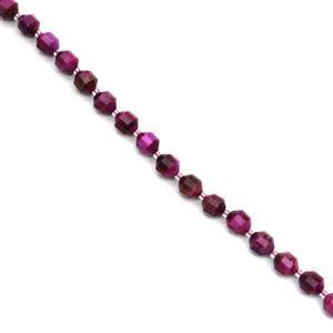 180cts Dyed Fuchsia Tiger Eye Faceted Satellite Beads Approx 9x10mm, 38cm Strand