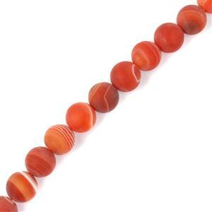 240cts Dyed Red Stripe Agate Matte Rounds Approx 10mm, 38cm Strand