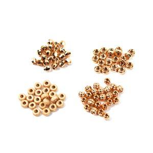 Rose Gold Plated 925 Sterling Silver Spacer Beads - 4 Designs, Approx 4mm (100pcs)