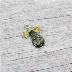 Baltic Green and Lemon Amber Pear Shape Sterling Silver Charm Approx 14x19mm
