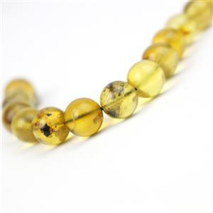 Dominican Amber 8mm Round Beads, 10cm Strand