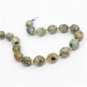 100cts K2 Jasper Faceted Points Approx 10mm, 20cm Strand