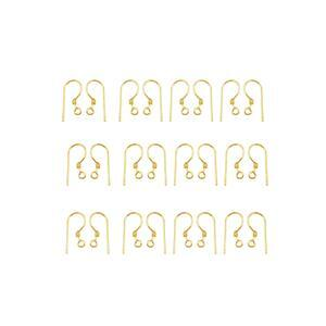 Gold Plated Base Metal Shepherd Ear Hooks, 15mmx7mm (100pcs)