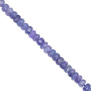 48cts Tanzanite Faceted Rondelle Approx 3.5x1.5 to 4.5x2.5mm, 21cm Strand