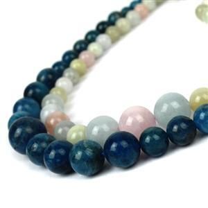 2 Strands! Neon Apatite & Multi-Colour Beryl Plain Rounds Approx 6 to 12mm