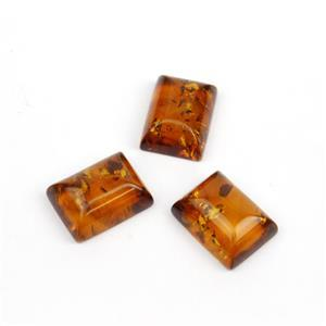 Baltic Cognac Amber Rectangular Cabochons, Approx. 16x12mm (3pcs)