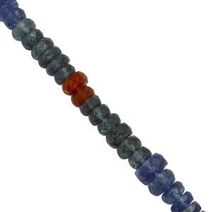 45cts Multi-Colour Kyanite Graduated Faceted Rondelles Approx 4x1mm to 5x3mm, 20cm Strand