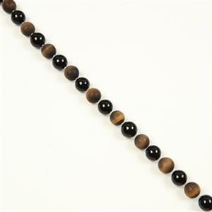 340cts Yellow Tiger's Eye Matt Plain Rounds, Black Agate Plain Rounds & White Crystal Faceted Rounds, Approx 12 & 2mm, 38cm
