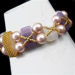 Highland Mist; 3 x Carrier Beads 15pcs, 5 x Miyuki Delica 11/0s, Shell Pearl 6mm and 8mm