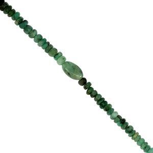58cts Emerald Smooth Rondelles & Ovals Approx 3x1 to 10x6mm, 41cm strand