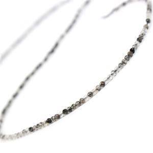 8ct Black Rutilated Quartz Faceted Rounds Approx 2mm , 38cm strand