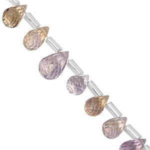 28cts Ametrine Top Side Drill Faceted Drop Approx 6x4 to 8.5x5mm, 20cm Strand with Spacers