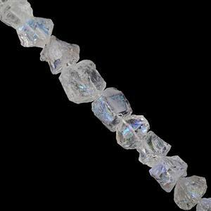 165cts Clear Coated Quartz Hammered Nuggets Approx 8x7 to 13x13.5mm, 20cm Strand