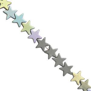 73cts Multi Color Coated Hematite Smooth Star Approx 8mm, 30cm Strand