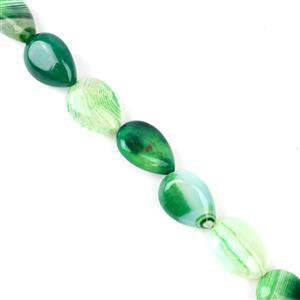 230cts Green Stripe Puffy Agate Pear Approx 13x18 mm, 38cm/strand