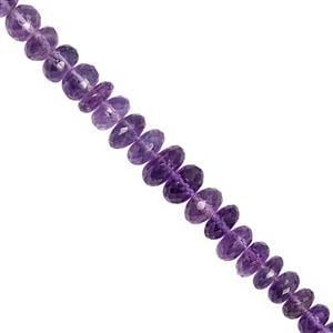 75cts Amethyst Graduated Faceted Rondelle Approx 5x2 to 9x5mm, 20cm Strand